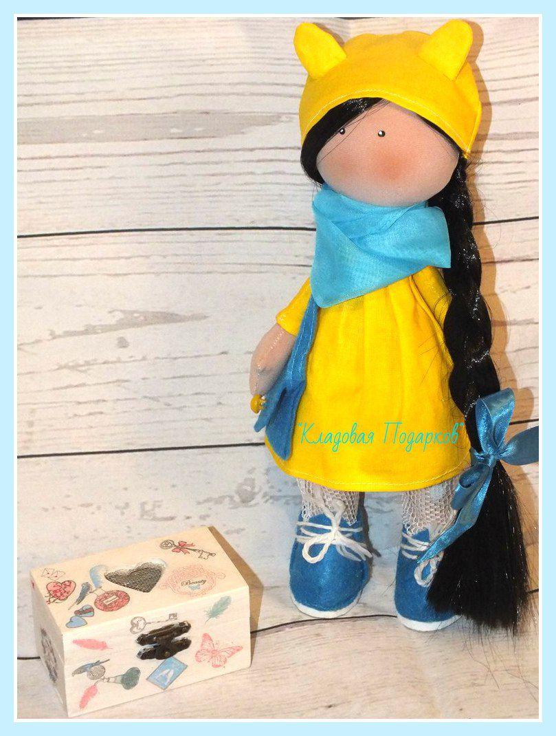 лимонный дляребенка ручнаяработа коллекионная кукла подарок дляинтерьера авторская