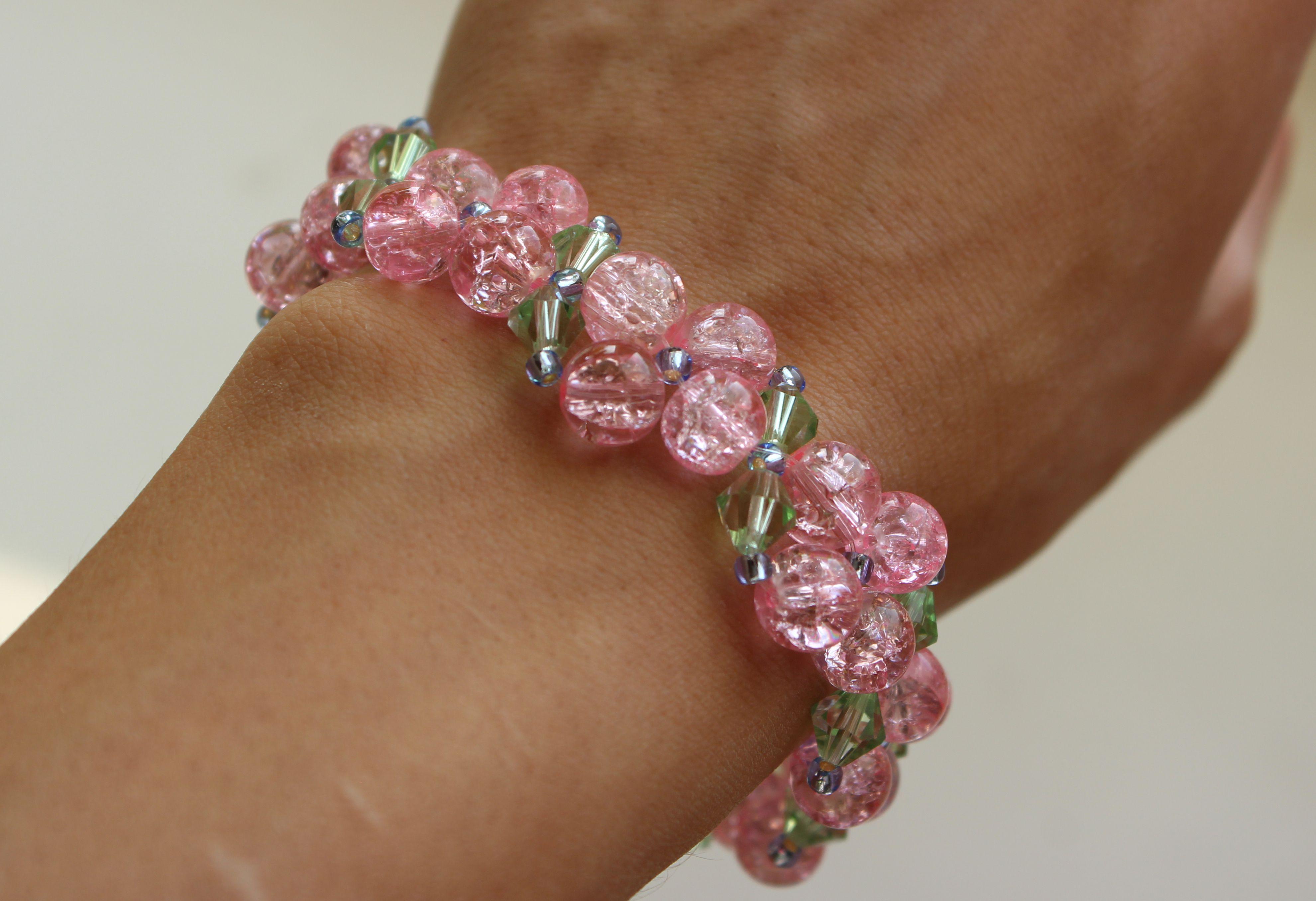 зеленый браслет нежный розовый бусины прозрачный украшения стекло бижутерия
