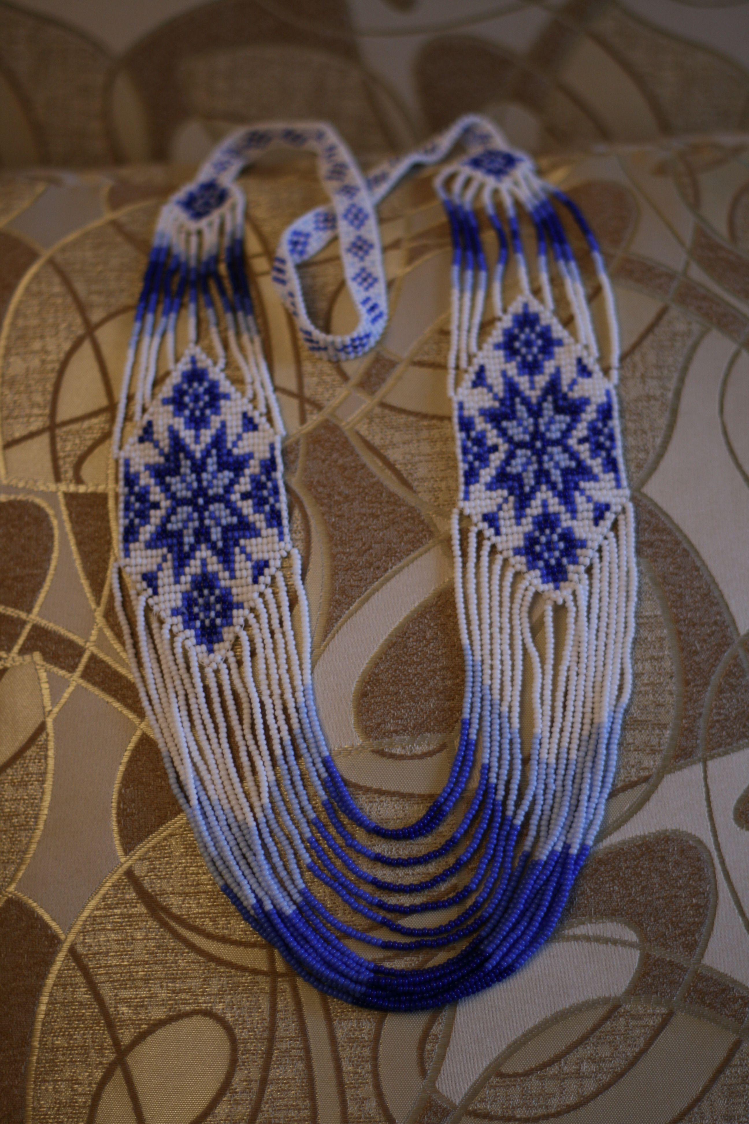 handmade подарки ручная подвеска синий гердан герданы хендмейд авторскаяработа работа узор бисер украшения колье кулон бисерный авторская бусы белый аксессуары бижутерия бисероплетение украшение ручнаяработа подарок
