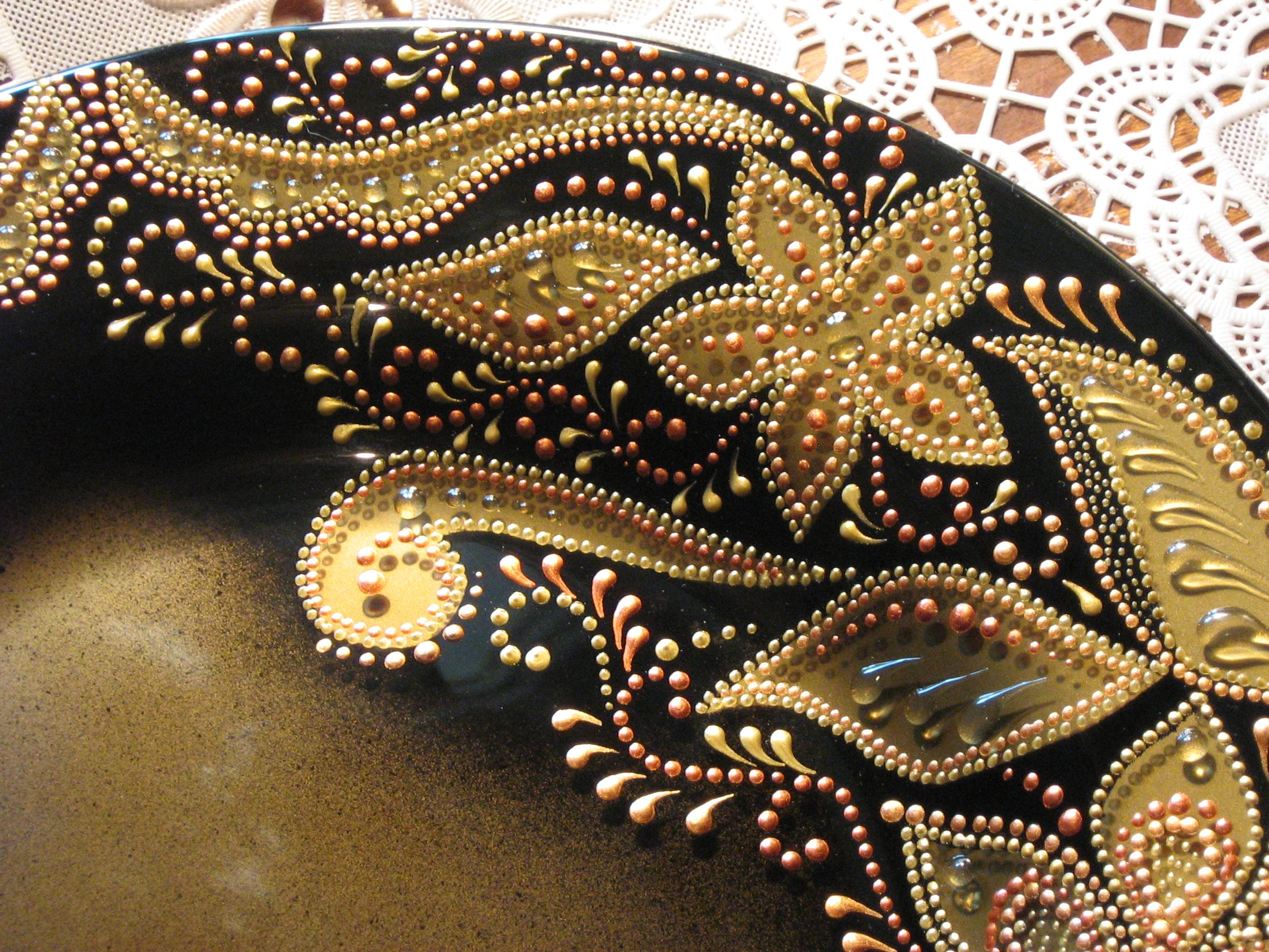 золото подарок тарелка сувенир роспись стекло