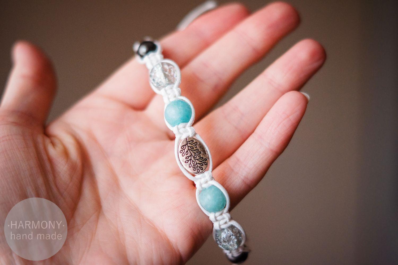браслет кварц украшение шамбала натуральныекамни голубой белый бижутерия