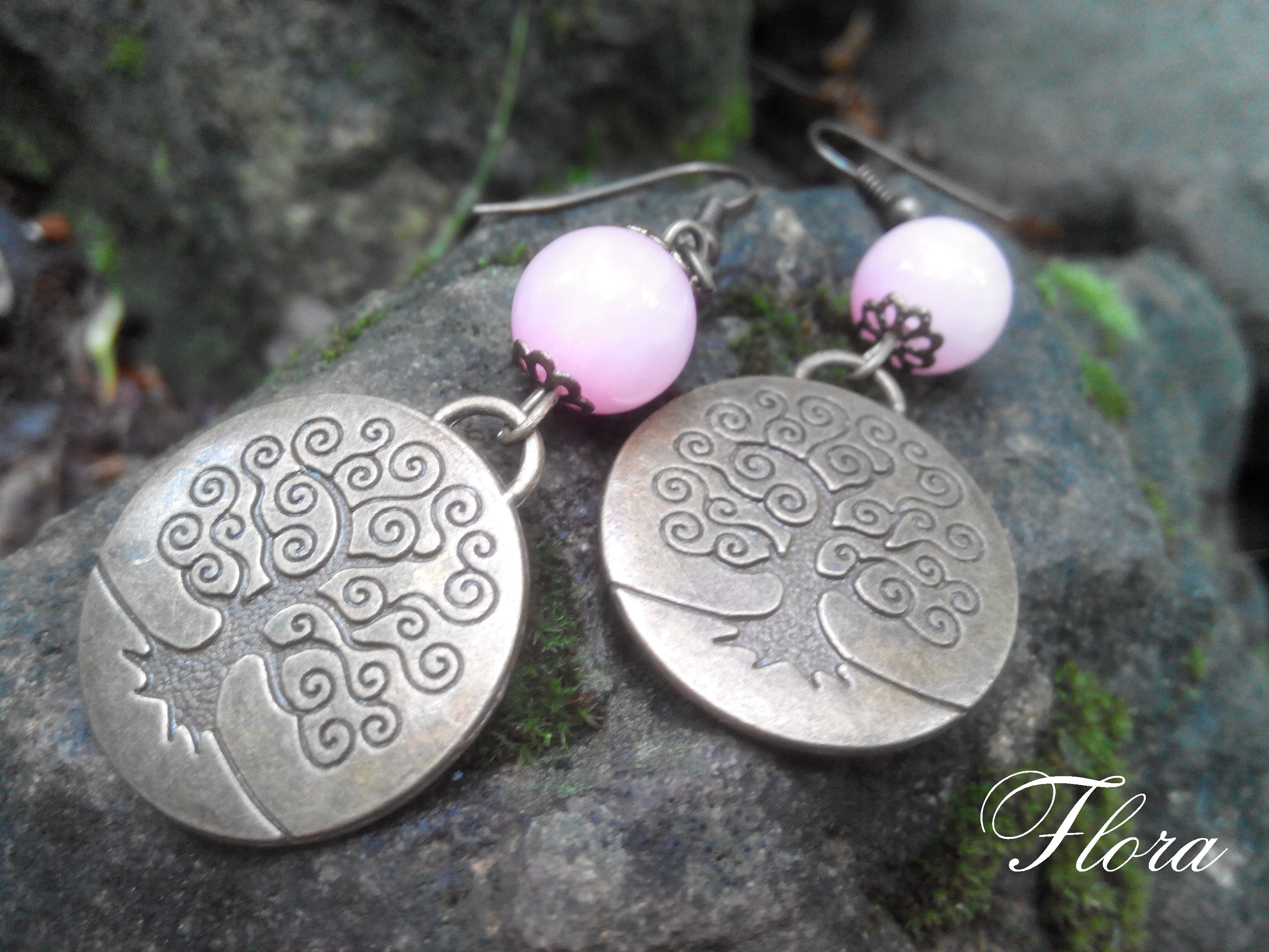дерево родовое украшение розовый кварц серьги