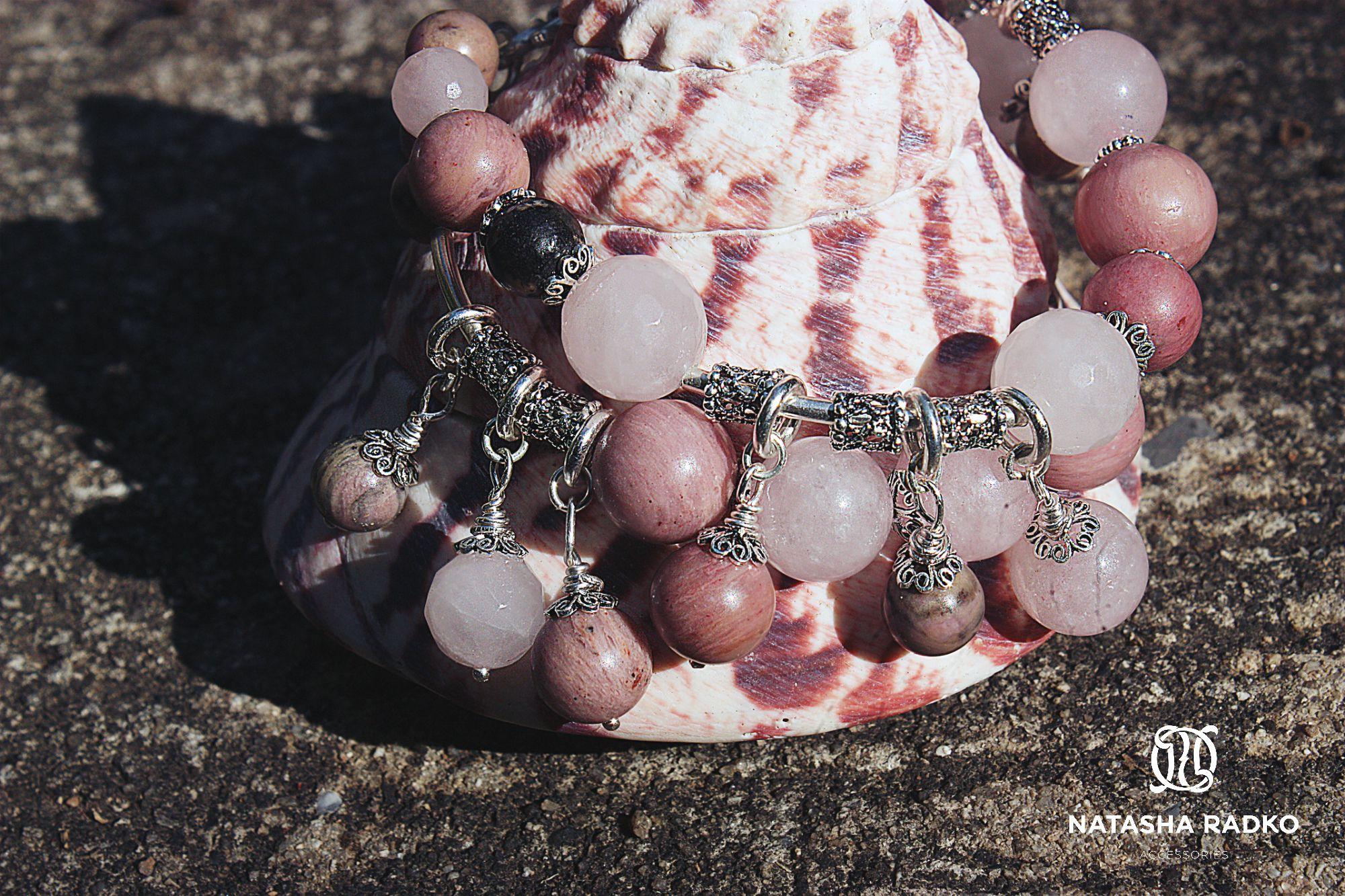 подарок браслет кварц розовый украшение серебро камни родонит натуральные