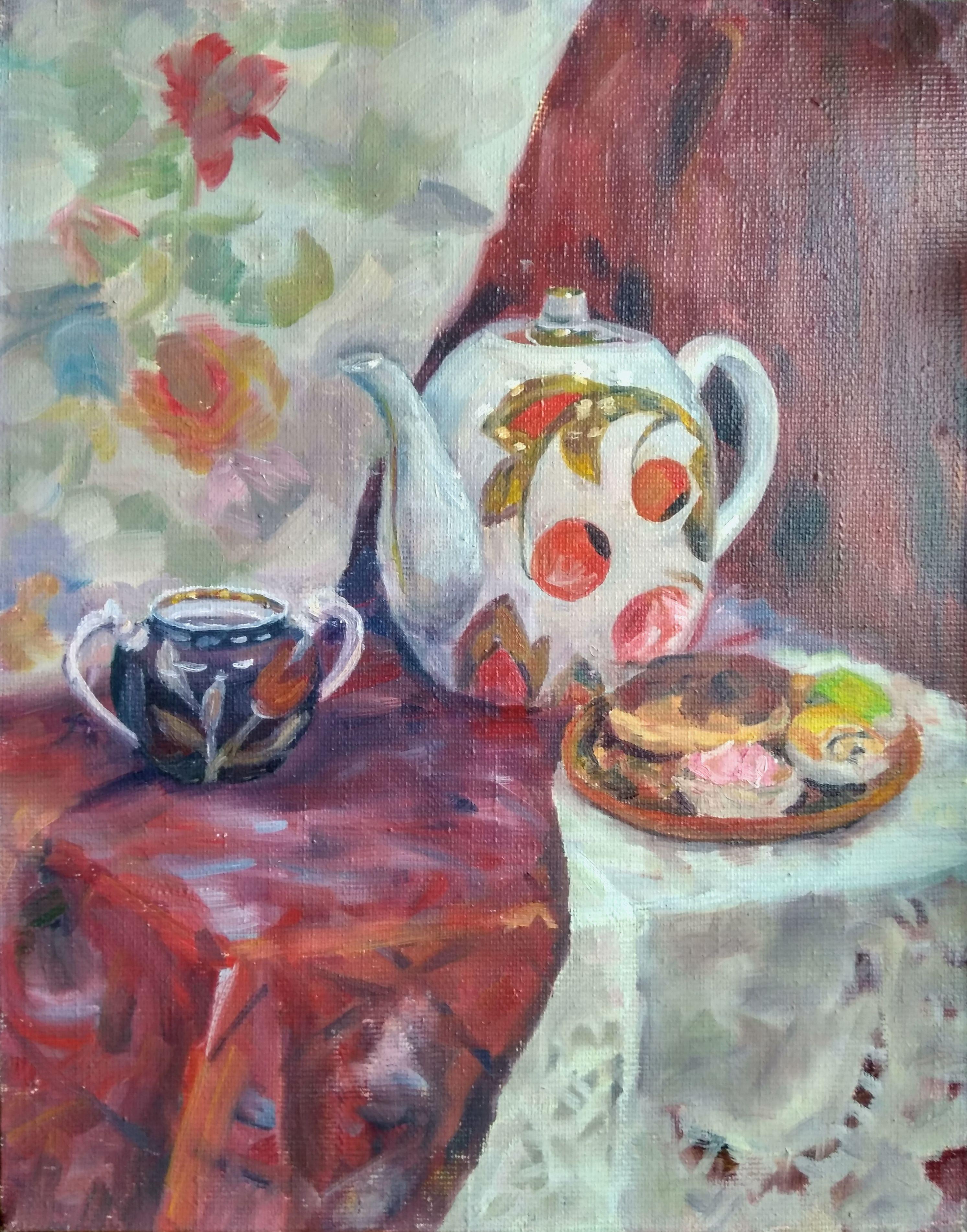 десерт масло на деревня натюрморт лен чай тепло коралловый живопись холст маслянные подрамнике бабушка краски