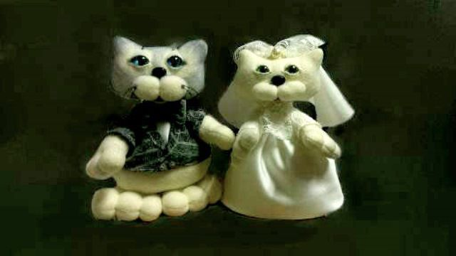 свадьба работа котики молодожены годовщинa коты свадебные ручная девочка дети подарок игрушки