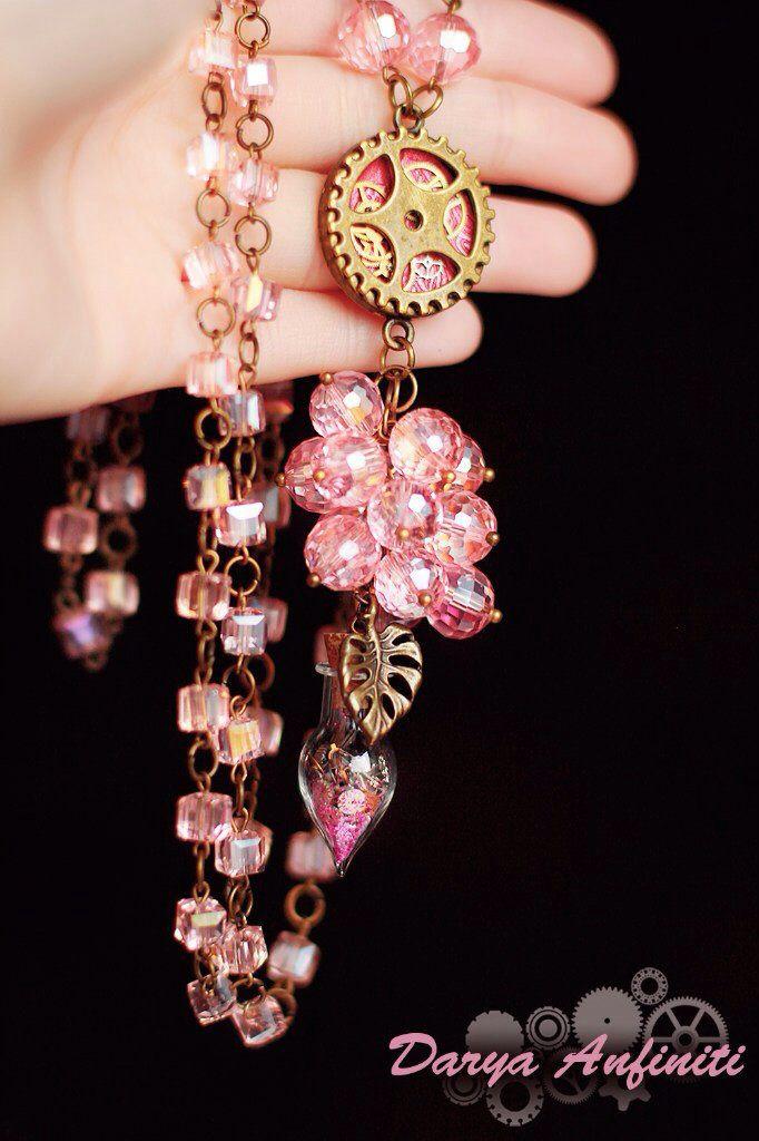 колье подарок steampunk кулон розовый ручная бутылочка стимпанк хэндмейд хендмейд подвеска шестеренки стекло