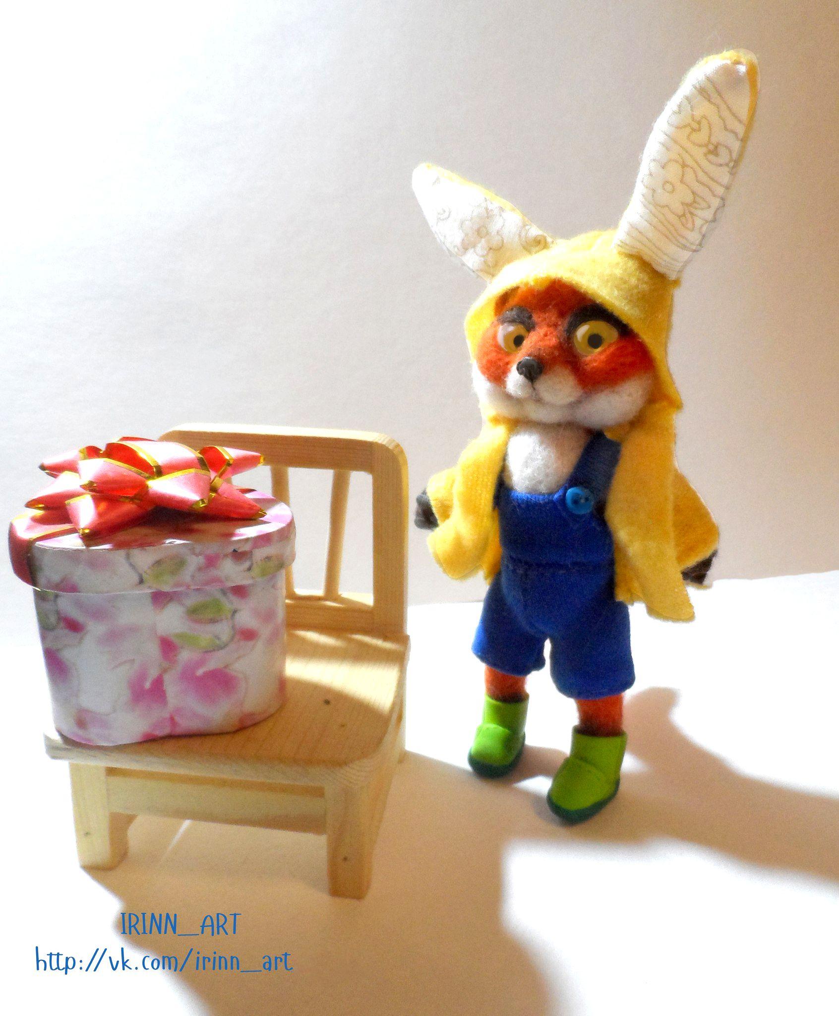 игрушка милый работа ручная лисенок лиса рыжий подарок