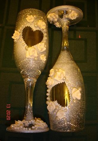 Свадебные бокалы своими руками 8