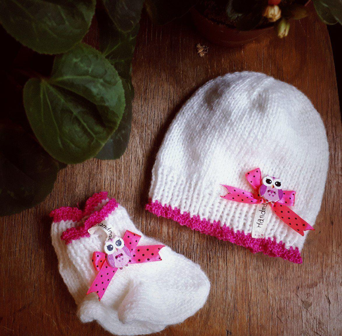 новорожденным вязаная_одежда шапочка набор вязание носочки малышке