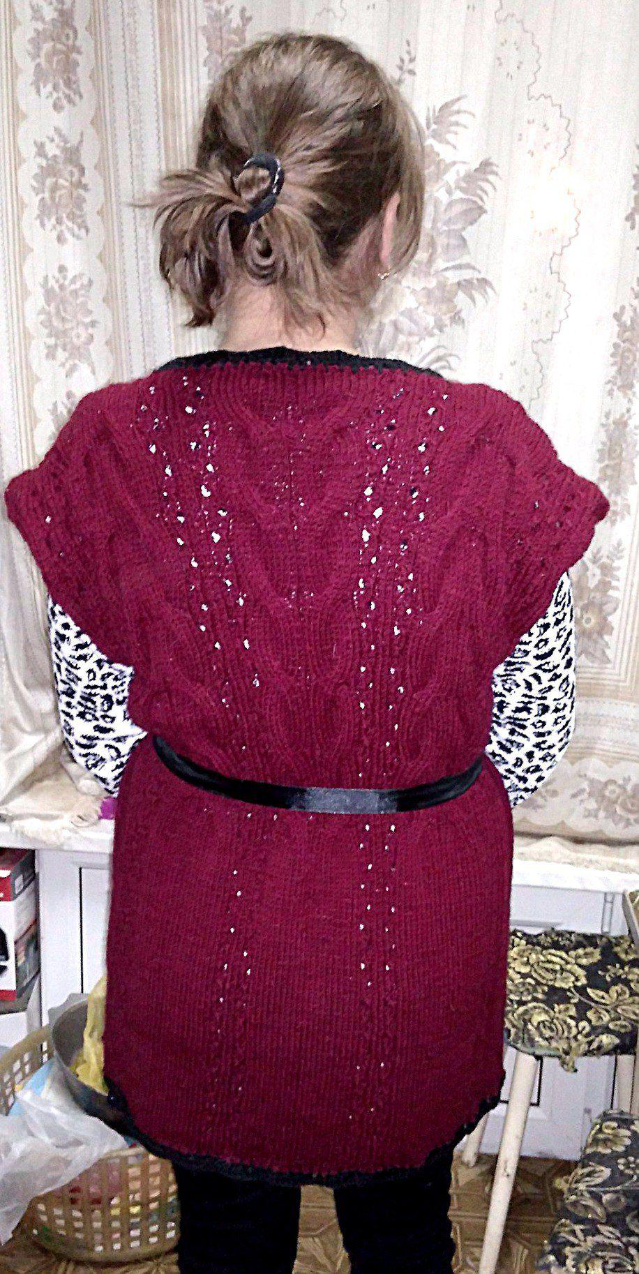 ручнаяработа косы вязание тепло жилет handmade