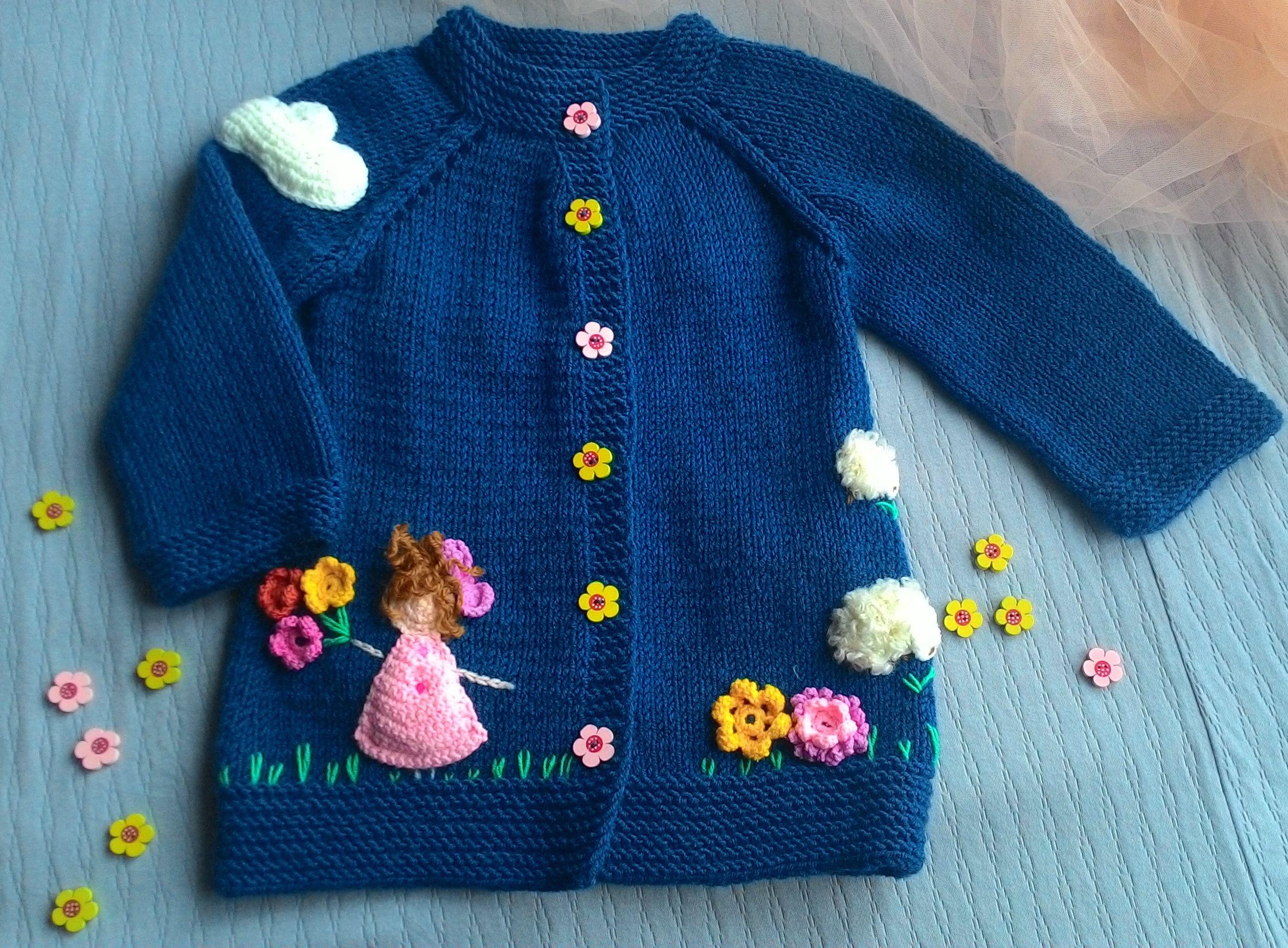 синий теплый осень на девочки аппликация весну для детский кардиган