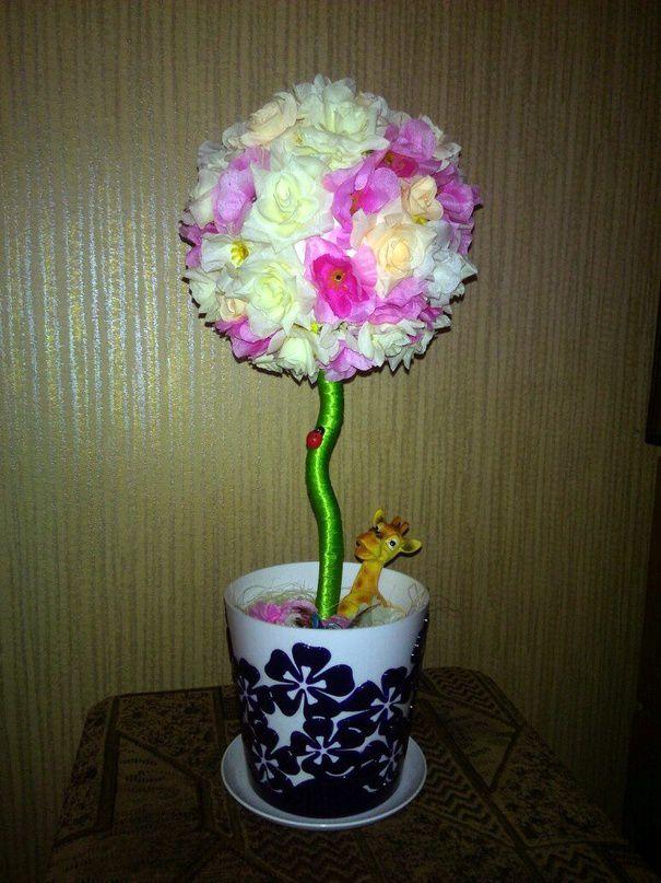 топиарий деревце сакура дерево розы цветы