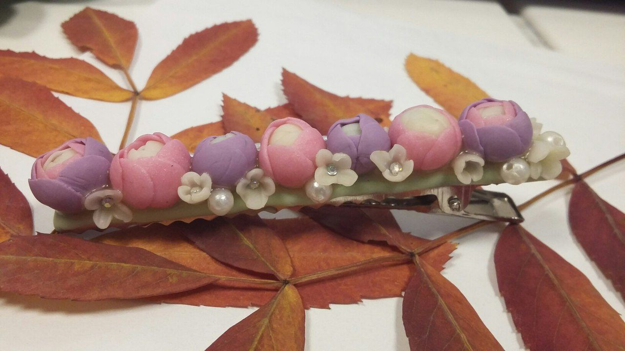 заколка заколкасрозами цветочнаязаколка заколкасцветами заколканаволосы аксессуарывпричёску красиваязаколка розы свадебнаяпричёска полимернаяглина причёска