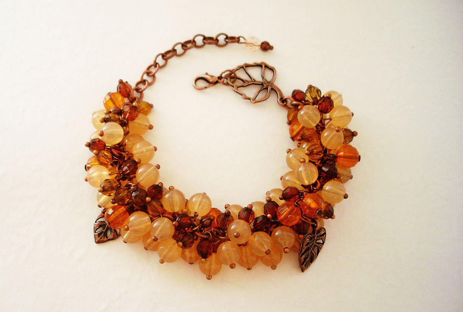 браслет подвески осени краски медные оранжевый