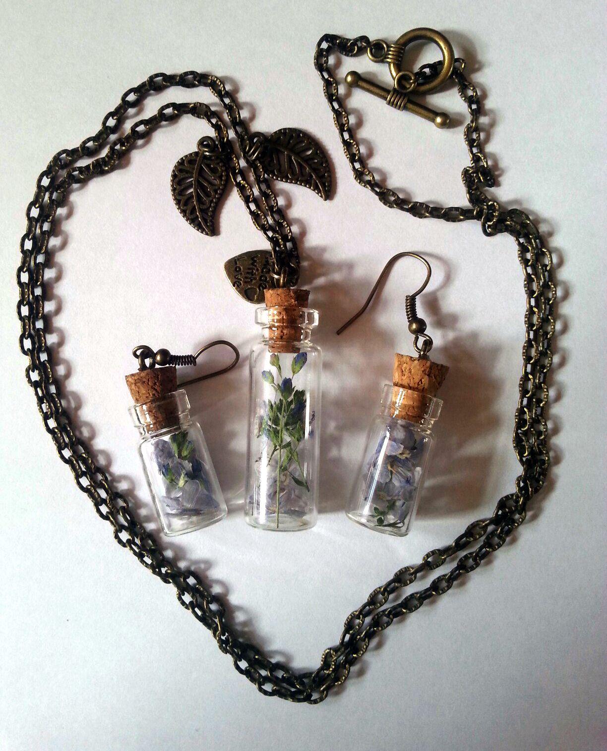 античная бронза украшение серьги подвеска баночки ручная работа бутылочки девушке кулон сухоцветы подарок