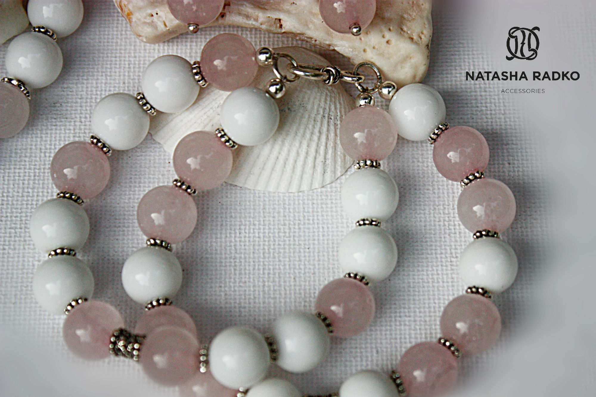украшение набор агат натуральные серебро розовый камни кварц подарок
