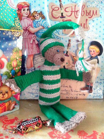 вязаный мишка игрушка подарок