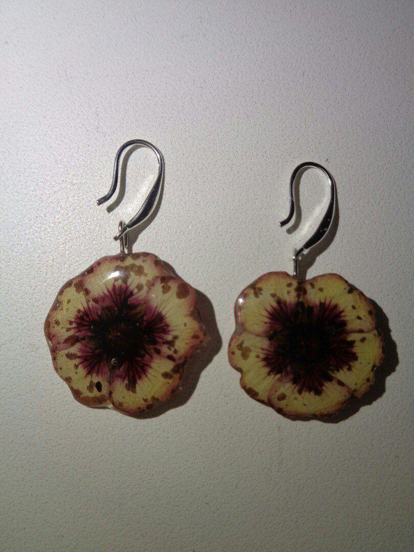 эпоксидная серьги смола сережки сухоцвет украшения цветы бижутерия
