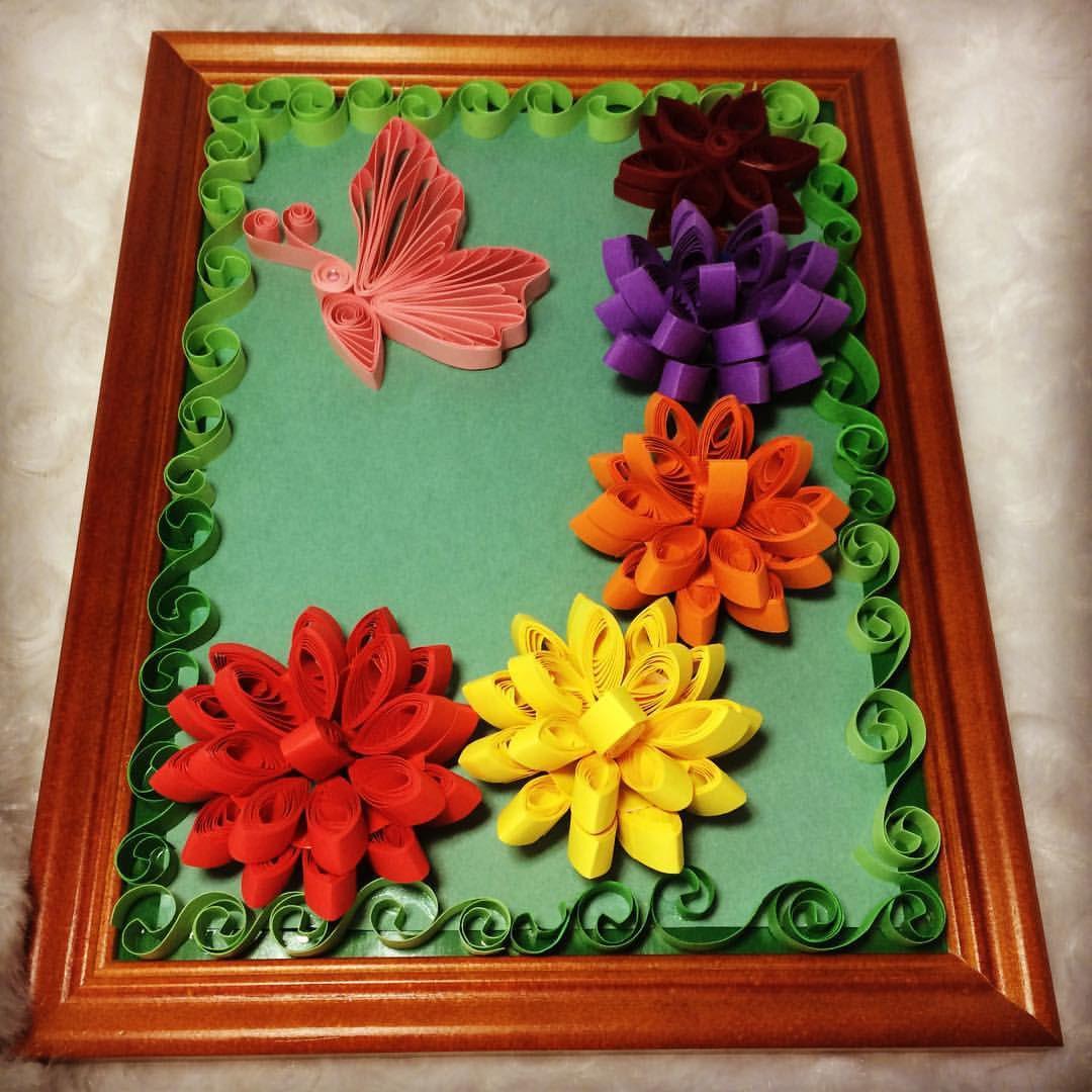 картина цветы подарки творчество хобби квиллинг