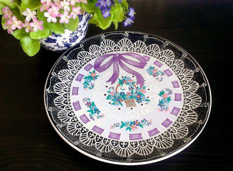 подарок пасха handmade тарелка точечнаяроспись декор декоративнаятарелка незабудки кружево ручнаяработа