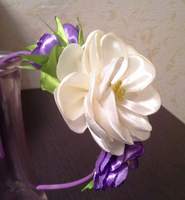 длядевочек подарок ручнаяработа ободок аксессуарнаголову канзаши ободоксцветами