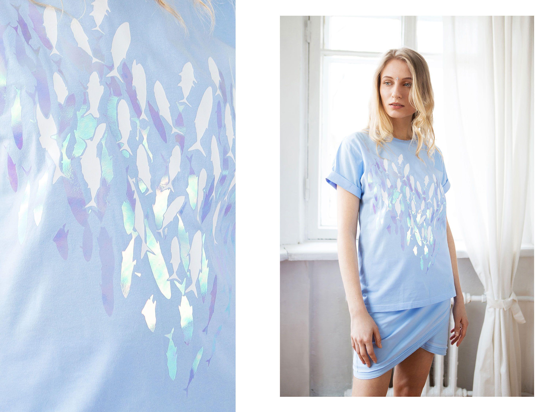 принт бренд одежда ksusharaikova футболка рыбки хлопок