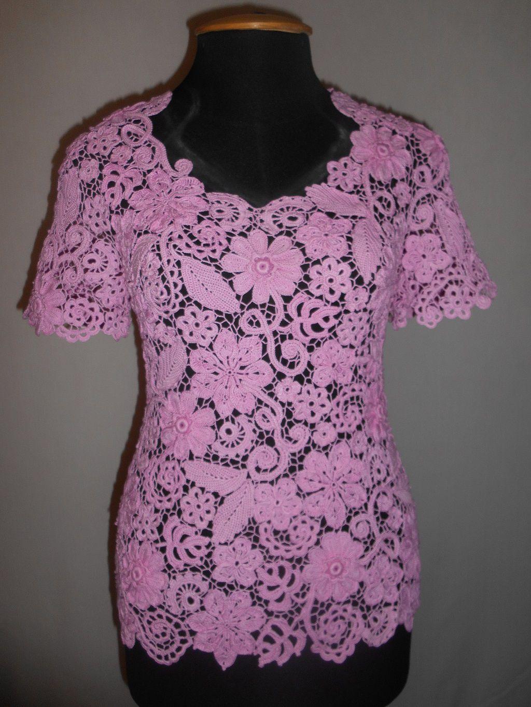 девушек крючком розовая вязаная кружевная ирландское для кружево кофта женская летняя