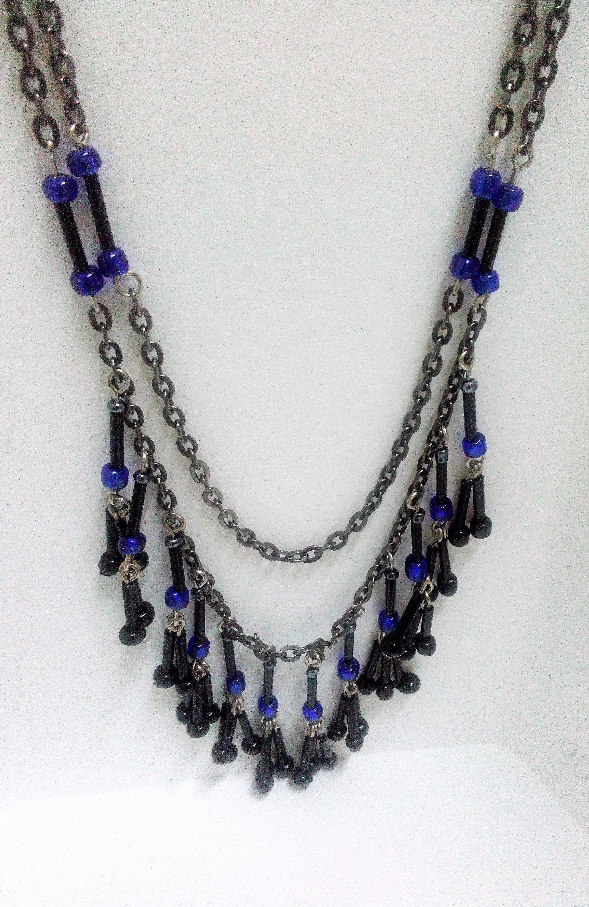 ожерелье цепочка синее для подарок женщине бисер девушке девушки черное
