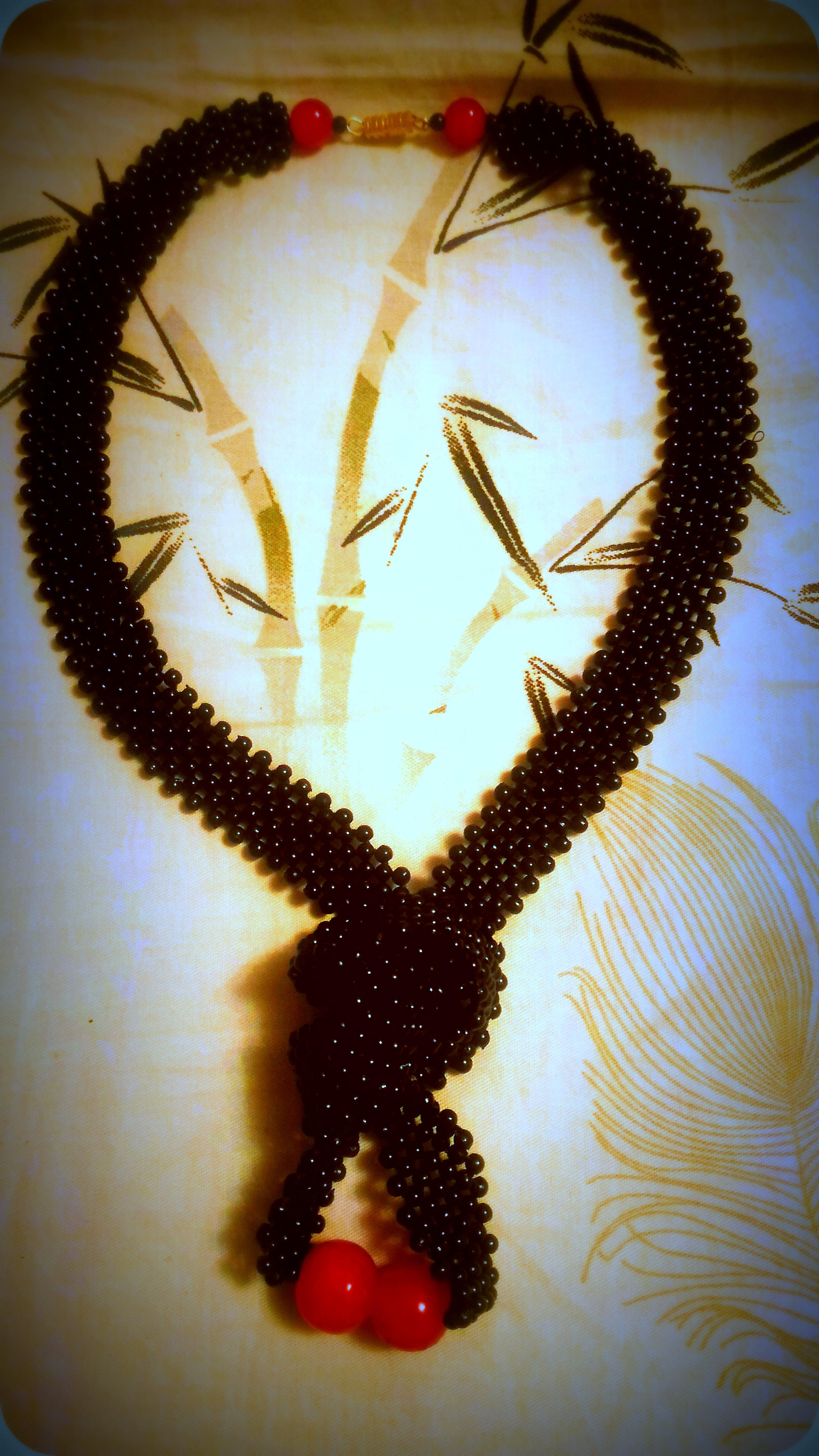 колье бусы бисера плетение монастырское авторские из бисер украшения черное