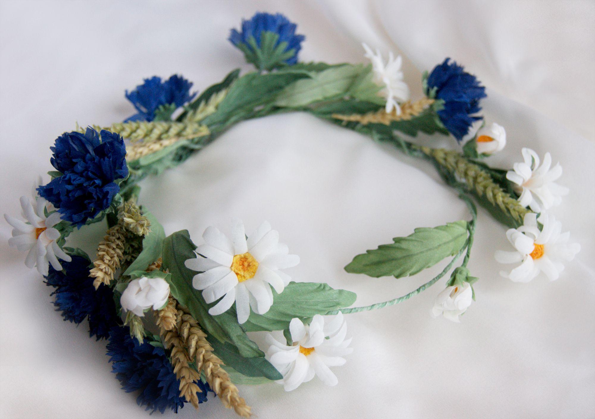 ручнаяработа украшение василек венокизцветов невеста цветыизшелка ромашка венок
