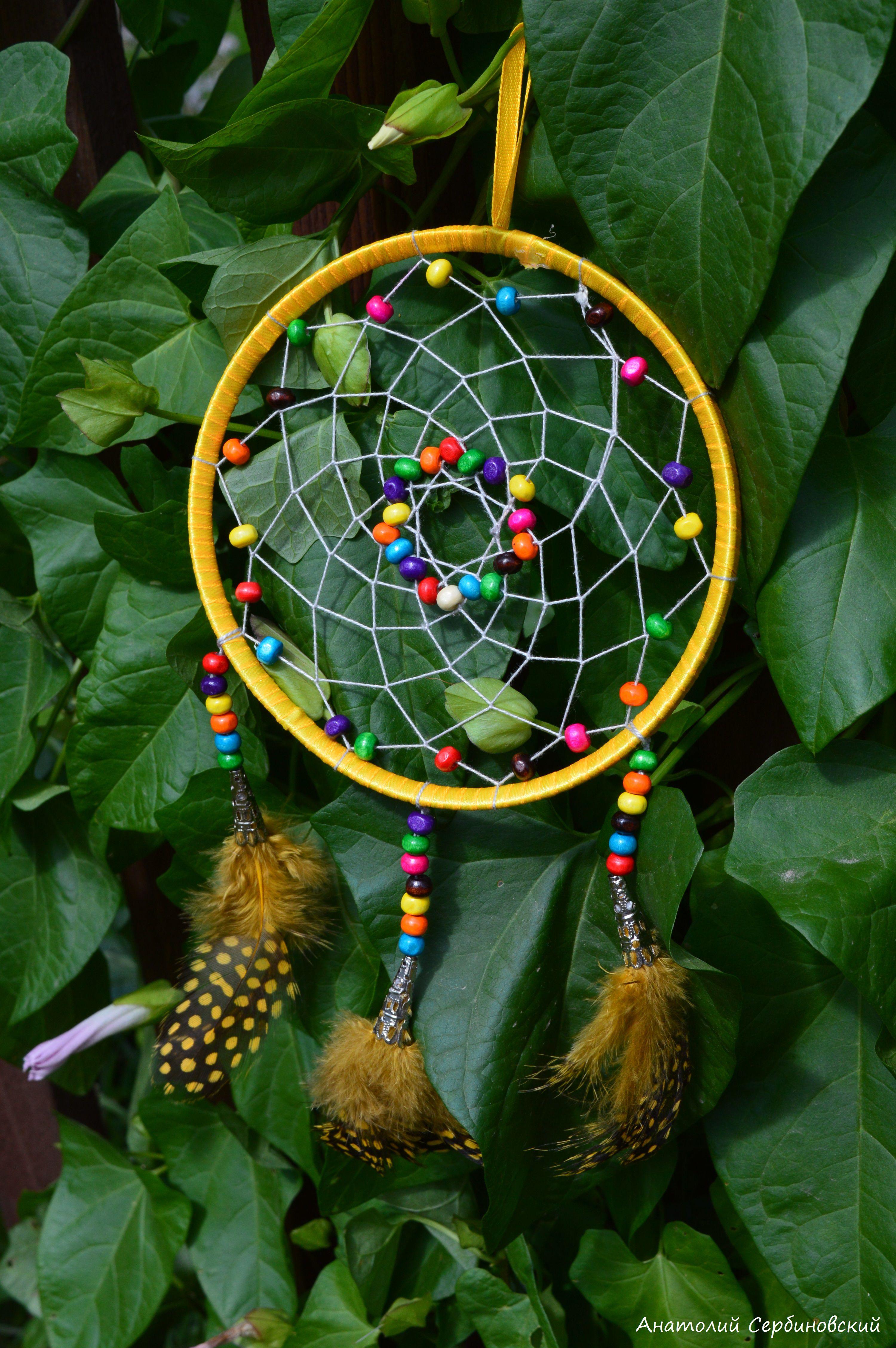 снов длядома разноцветный украшение handmade желтый перья ловец