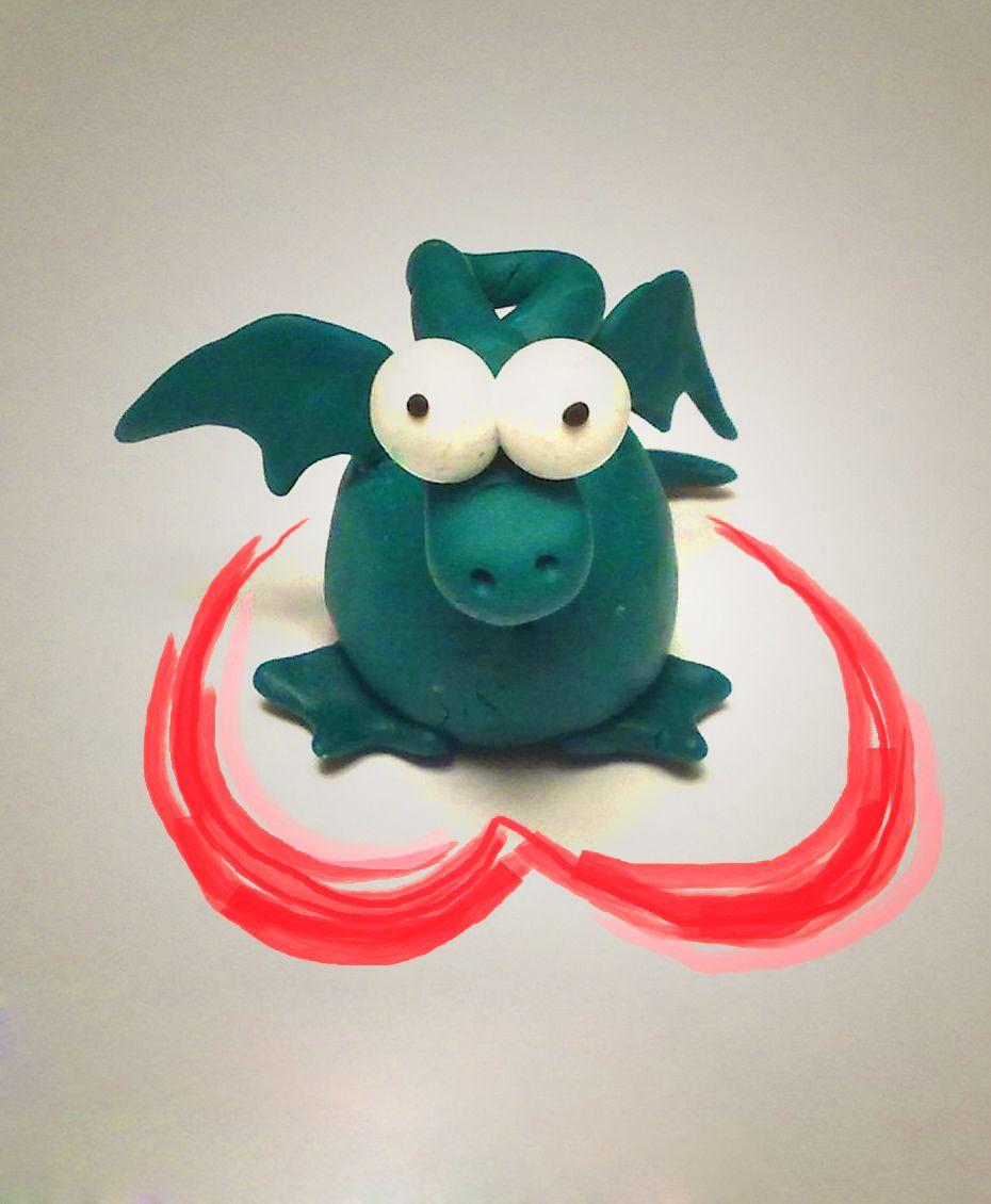 полимерная глина игрушка интерьер дракон мелочь барашек